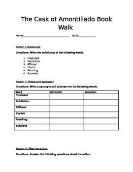 Cask of Amontillado Book Walk