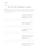 Cask of the Amontillado Vocabulary Worksheet