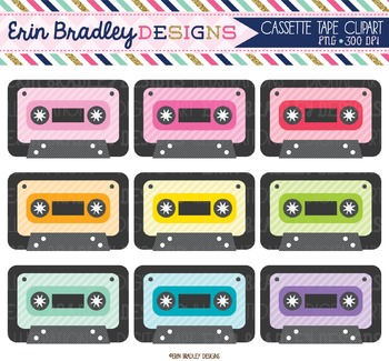 Cassette Tape Clipart Set
