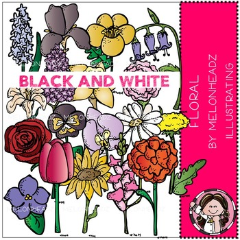 Melonheadz: Floral clip art - BLACK AND WHITE