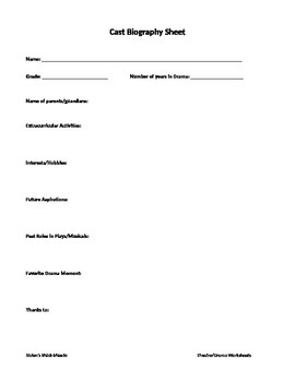 Cast Biography Worksheet