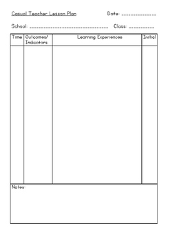 Casual Teacher Lesson Plan Proforma Rubric