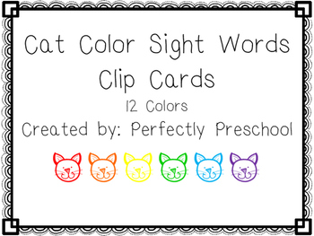 Cat Color Sight Word Clip Cards