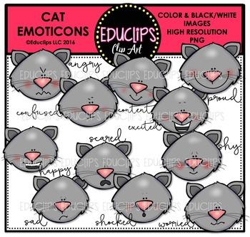 Cat Emoticons Clip Art Bundle