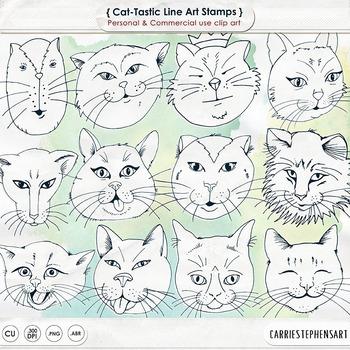Cat Face Line Art, Kitten Black Line Art Outlines, Cat Dig