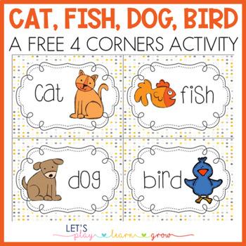Cat, Fish, Dog, Bird Game Cards- Freebie