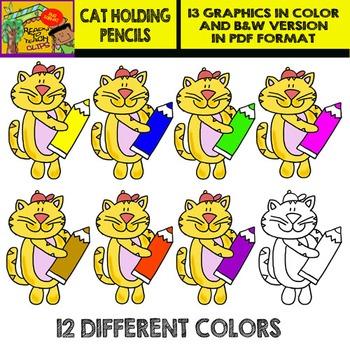 Cat Holding Pencils