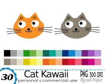 Cat Kawaii  - Clipart - 30 colors - 30 PNG files - Pet cli