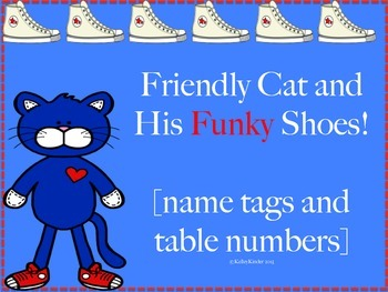 Cat and his funky shoes! (Name tags and table numbers)