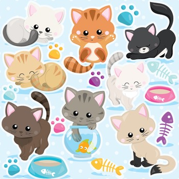 Cat clipart commercial use, vector graphics, digital  - CL979