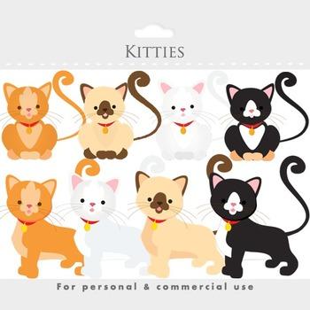 Cat clipart - kittens, kitties, kittycats, white, brown, s