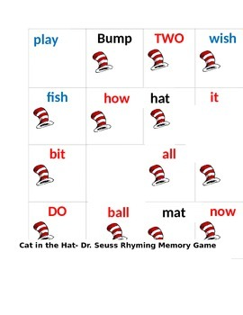 Cat in the Hat Rhyming Game