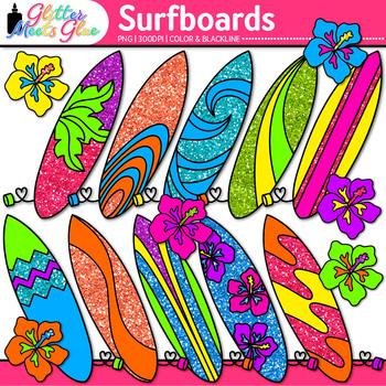 Glitter Surfboard Clip Art {Summer Beach Graphics for Clas