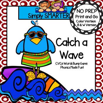 Catch a Wave:  NO PREP Summer Themed CVCe Words Bump Game