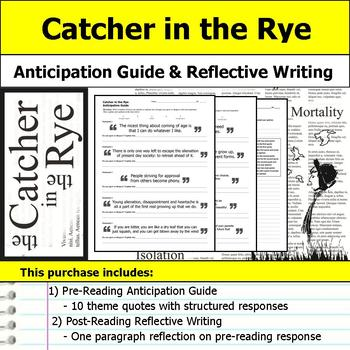 Catcher in the Rye - Anticipation Guide and Post Reading R