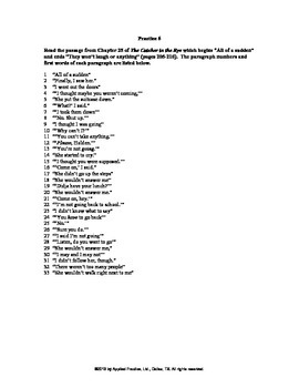 Catcher in the Rye Chapter 25 English skills worksheet by