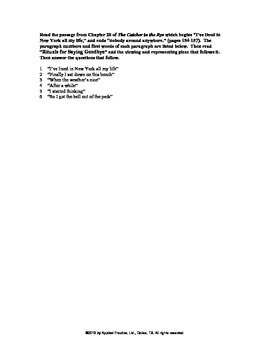 Catcher in the Rye Triplet English skills worksheet from A