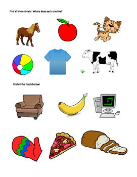 Categories: Animals and Foods