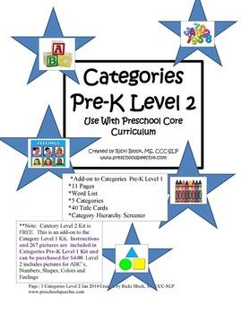 Categories Pre-K Level 2