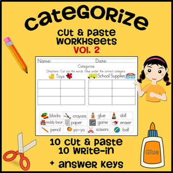 Categorize & Classify Worksheets - Volume 2 (Cut and Paste