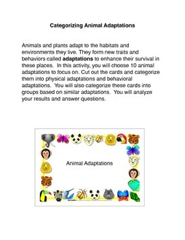 Categorizing Animal Adaptations Activity with Cards