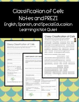 Categorizing Cells (Cloze-Style Notes, Accompanying Prezi,