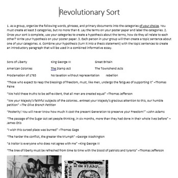 Categorizing Revolutionary War Terms