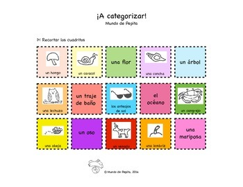 Category Sort SET of Activity Pages / Worksheets Spanish P