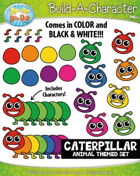 Caterpillar Build-A-Character Clipart Set — Includes 40+ G