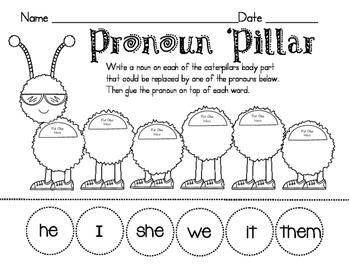 Caterpillar Pronoun and Pronoun Scavenger Hunt!
