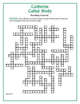 Catherine Called Birdy: 50-word Prereading Crossword--Grea