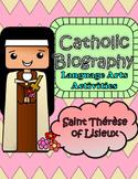 Catholic Biography Language Arts Activities Saint Therese
