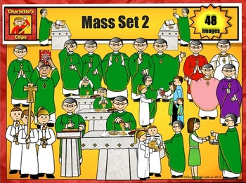 Catholic Mass Clip Art Set 2: Priest, Deacon, Servers from