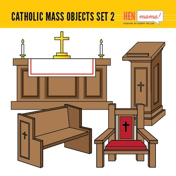 Catholic Mass Objects - Set 2 (Church Religious Furnitures)