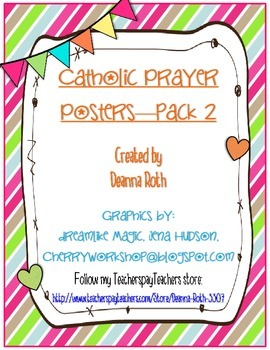 Catholic Prayer Posters {Brights}--Pack Two