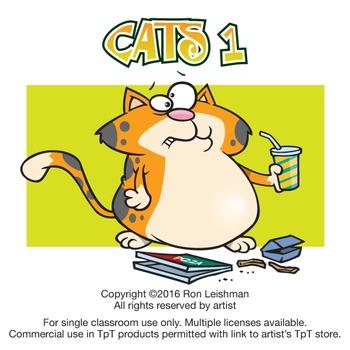 Cats Cartoon Clipart Volume 1