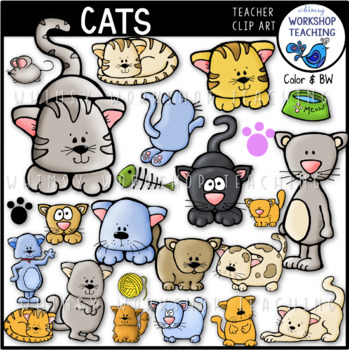 Cats Clip Art (50 graphics) Whimsy Workshop Teaching