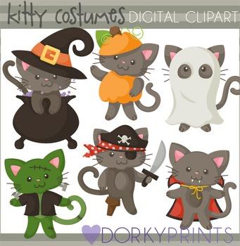 Cats in Costume Halloween Clip Art