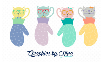 Cats in Mittens Clipart