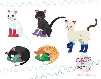 Cats in Socks Clip Art Set