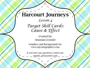 Cause & Effect Task Cards - Harcourt Journeys Lesson 4