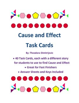 Cause and Effect: 40 Task Cards Common Core Standard CCSS.