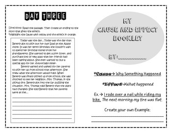 Cause and Effect Booklet