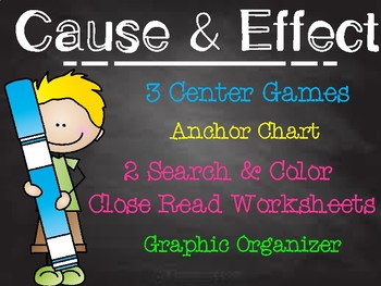 Common Core Cause and Effect Center Literacy Centers Games