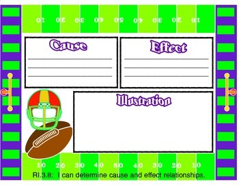 Cause and Effect Football Themed Graphic Organizer