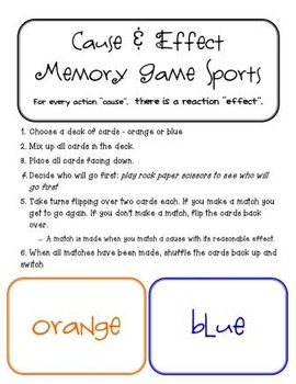 Cause and Effect Memory/Matching Game - Sports Edition
