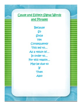 Cause and Effect Signal Words and Phrases Freebie
