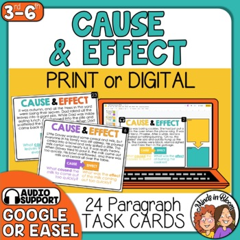 Cause and Effect Task Cards | Cause and Effect Short Passa