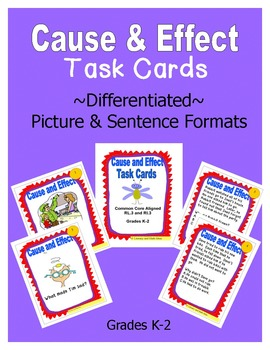 Cause and Effect Task Cards (Common Core RL.3 & RI.3)