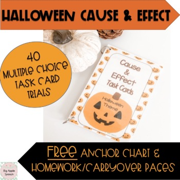 Cause and Effect Task Cards Easy Prep Halloween Theme (CCSS)